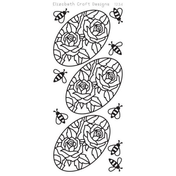 Roses In Ovals Peel-Off Stickers