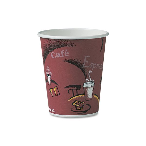 Dart Bistro Design Hot Drink Cups, Paper, 10oz, Maroon, 300/Carton