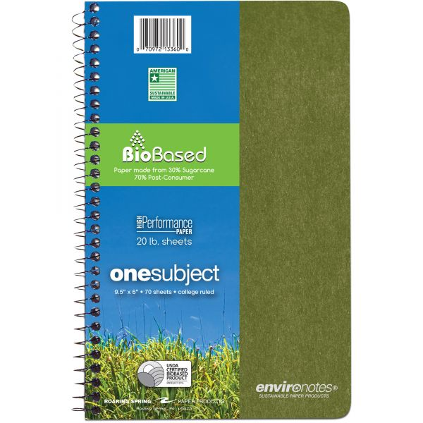 Environotes 1-Subject College Ruled Spiral Notebook
