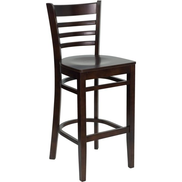 Flash Furniture HERCULES Series Finished Ladder Back Wooden Barstool