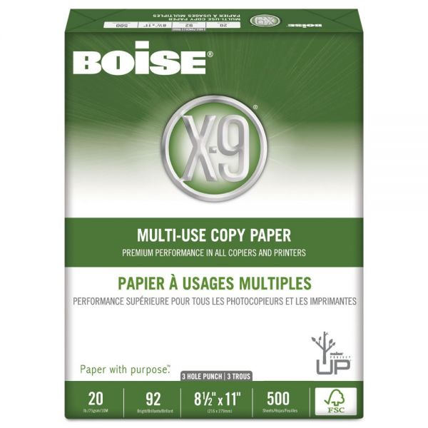 Boise X-9 Three-Hole Punched White Copy Paper