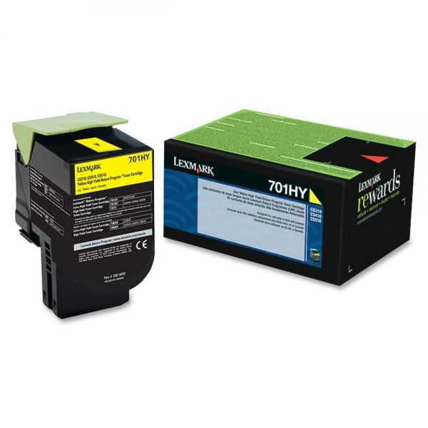 Lexmark 701HY Yellow High Yield Return Program Toner Cartridge (70C1HY0)