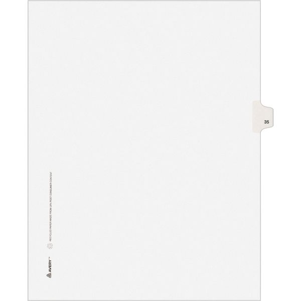 Avery Allstate-Style Legal Exhibit Side Tab Divider, Title: 35, Letter, White, 25/Pack
