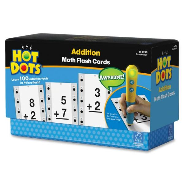 Hot Dots Addition Facts 0-9 Flash Cards