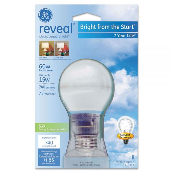 GE Compact Fluorescent Bulb, A19, Reveal