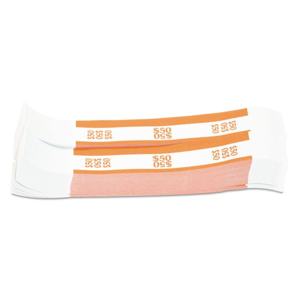 Coin-Tainer Currency Straps, Orange, $50 in Dollar Bills, 1000 Bands/Pack