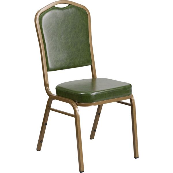 Flash Furniture HERCULES Series Crown Back Stacking Banquet Chair with Green Vinyl and 2.5'' Thick Seat - Gold Frame