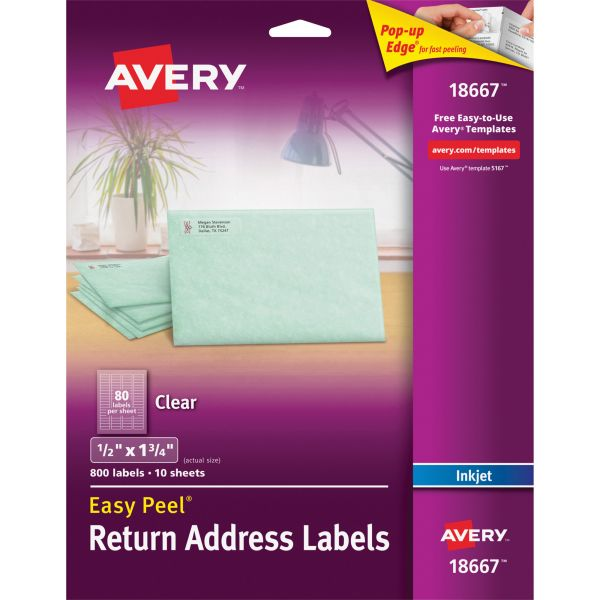 Avery 18667 Easy Peel Clear Return Address Labels
