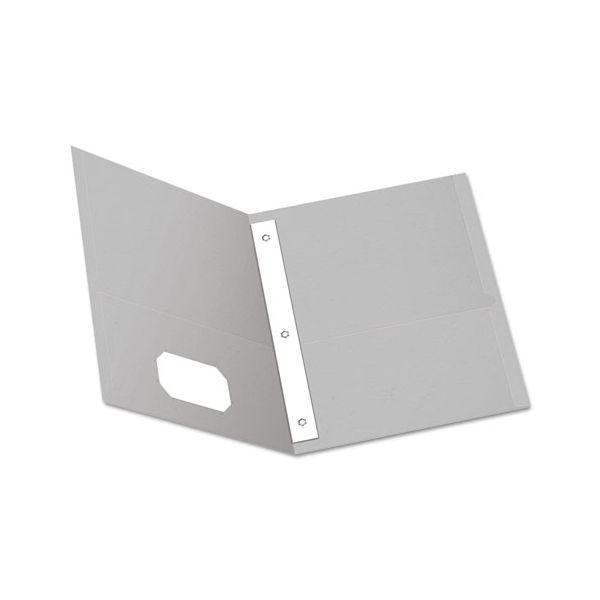 """Oxford Twin-Pocket Folders with 3 Fasteners, Letter, 1/2"""" Capacity, Gray, 25/Box"""