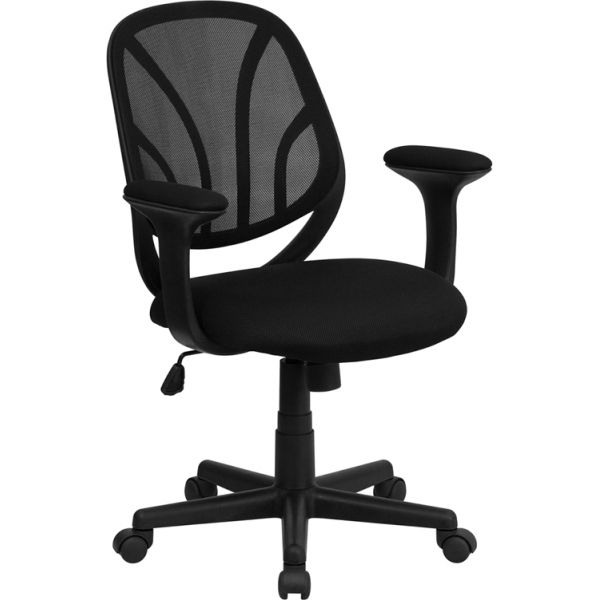 Flash Furniture Y-GO Chair Mid-Back Mesh Task Chair with Arms