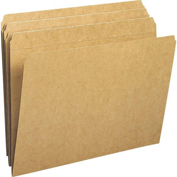 Smead Kraft File Folders, Straight Cut, Reinforced Top Tab, Letter, Kraft, 100/Box