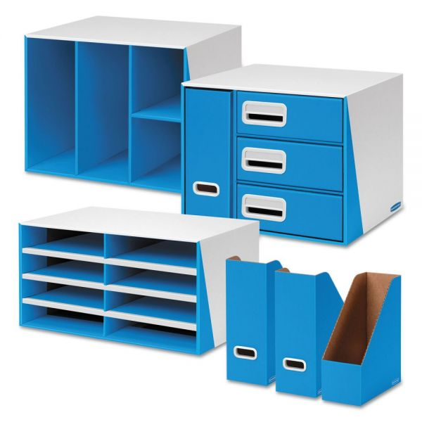 Bankers Box Premier Desktop Organization Kit, Six-Pieces, White/Blue