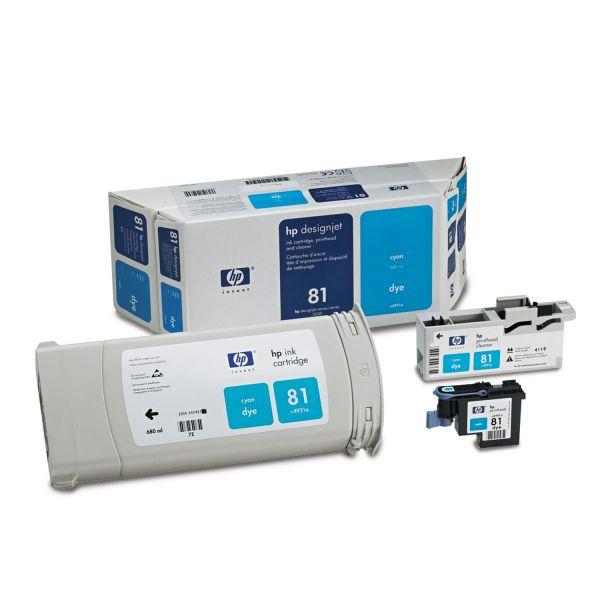 HP 81, (C4991A) Ink Cartridge/Printhead/Printhead Cleaner, 680 mL, Cyan