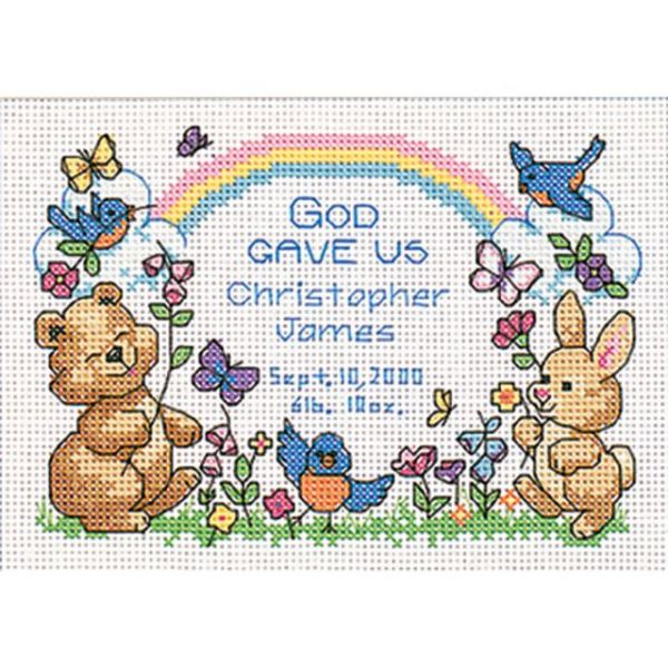 Dimensions God's Babies Birth Record Mini Counted Cross Stitch Kit