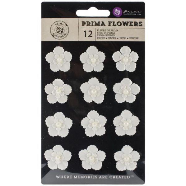 Raelynn Paper Flowers W/Pearls 12/Pkg