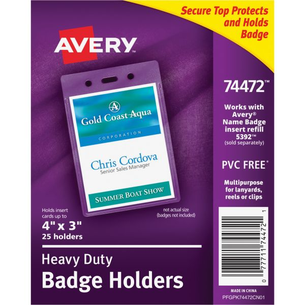Avery Secure Top Heavy-Duty Vertical Badge Holders