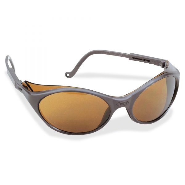 Honeywell Uvex Bandit Wraparound Safety Glasses, Black Nylon Frame, Espresso Lens