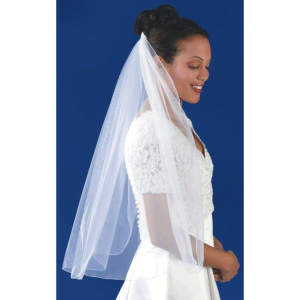 "Rolled Edge Single Layer Bridal Veil 31""X54"""