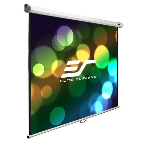 "Elite Screens M100V Manual Ceiling/Wall Mount Manual Pull Down Projection Screen (100"" 4:3 Aspect Ratio) (MaxWhite)"