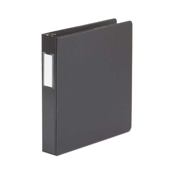 """Universal Economy Non-View 3-Ring Binder With Label Holder, 1 1/2"""" Capacity, Round Ring, Black"""