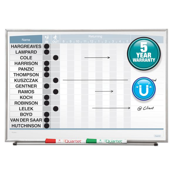 Quartet Horizontal Matrix Employee Tracking Board, 23 x 16, Aluminum Frame