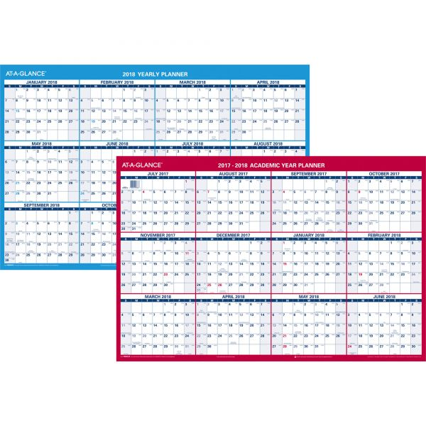 AT-A-GLANCE Reversible Laminated Academic Yearly Wall Calendar