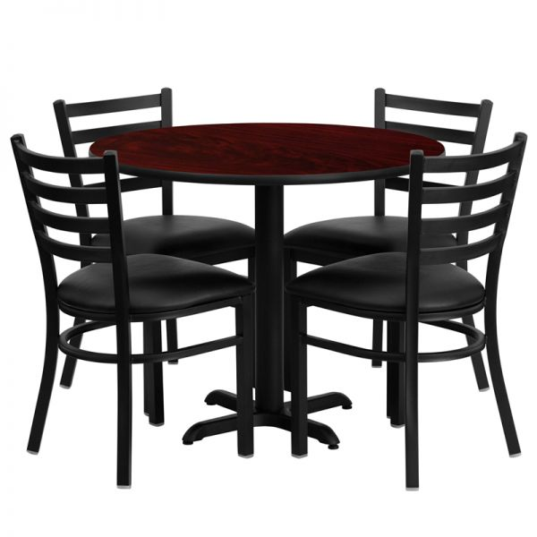 Flash Furniture 36'' Round Mahogany Laminate Table Set with 4 Ladder Back Metal Chairs - Black Vinyl Seat [HDBF1030-GG]
