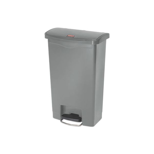 Rubbermaid Commercial Slim Jim Resin Step-On Container, Front Step Style, 13 gal, Gray
