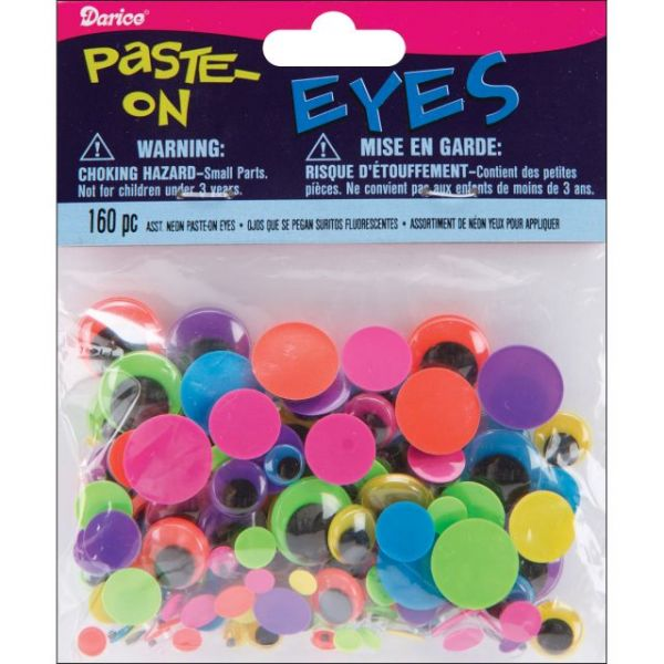 Paste-On Wiggle Eyes Assorted 160/Pkg