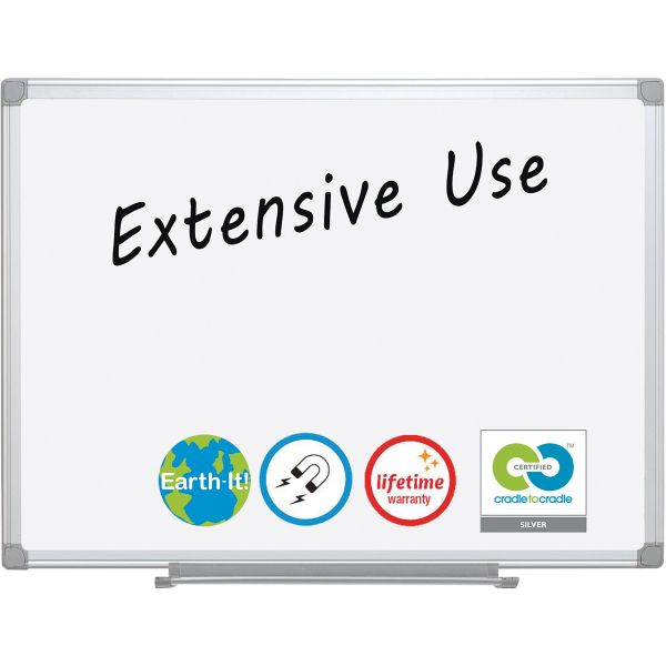 """MasterVision 36"""" x 24"""" Earth Platinum Pure White Magnetic Porcelain Dry Erase Whiteboard"""