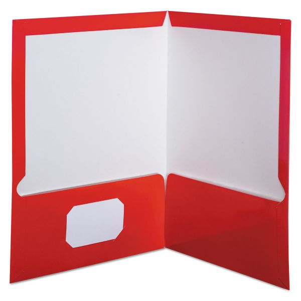 Oxford Laminated Red Two Pocket Folders