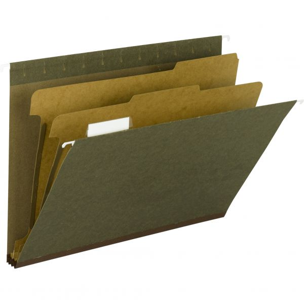 Smead 65110 Standard Green 100% Recycled Hanging Classification Folder with Tab