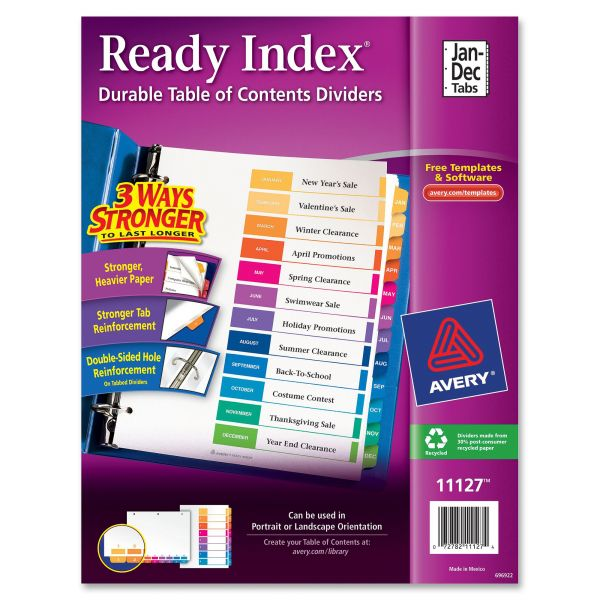Avery Ready Index Customizable Table of Contents Multicolor Dividers, 12-Tab, Letter