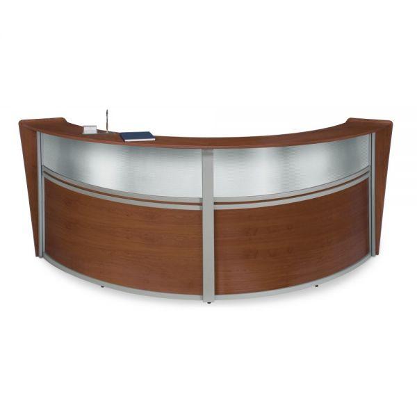 OFM OFM Marque Series Plexi Double-Unit Curved Reception Station, Cherry