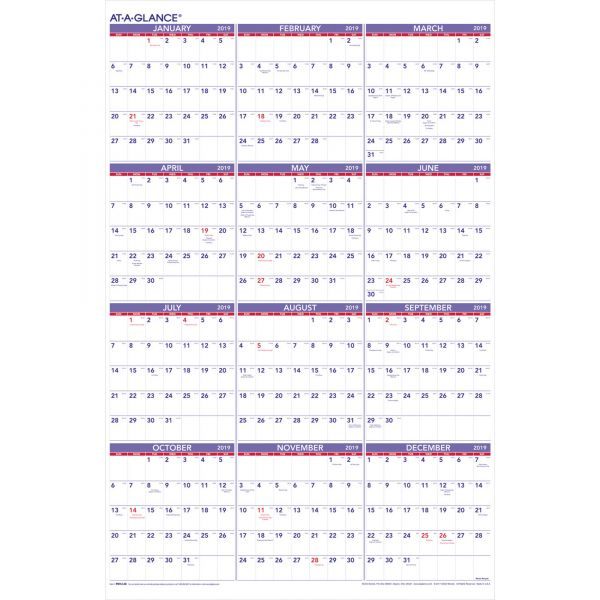 AT-A-GLANCE Yearly Wall Calendar, 24 x 36, 2019
