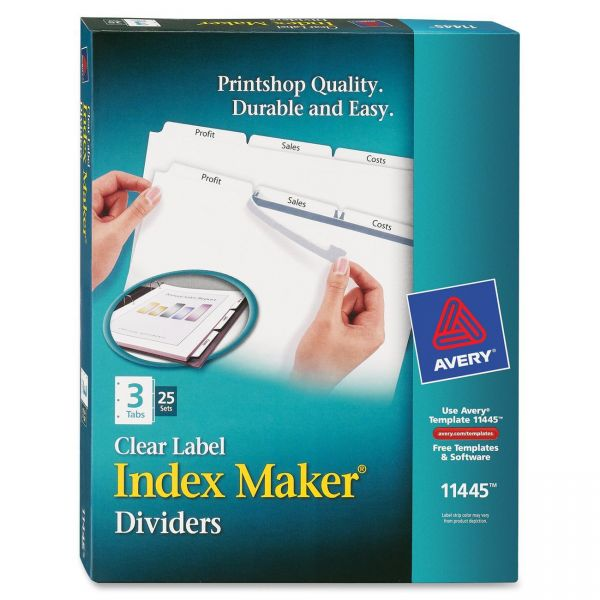 Avery Clear Label 3-Tab Index Maker Dividers