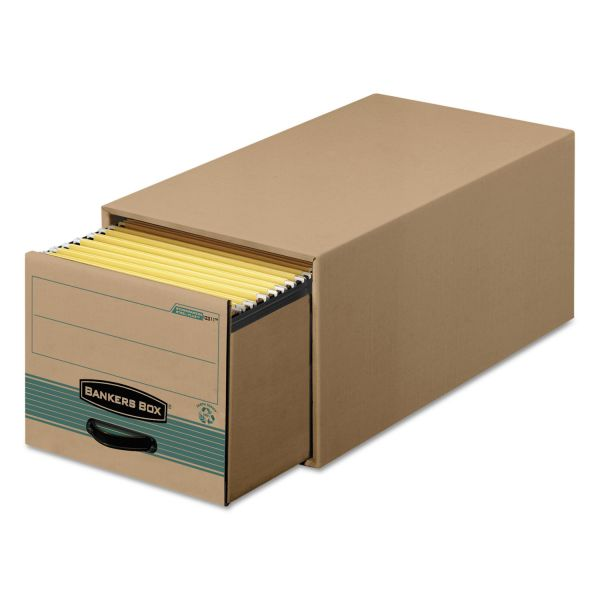Bankers Box Super STOR/DRAWER Steel Plus Storage Box, Legal, Kraft/Green, 6/Carton
