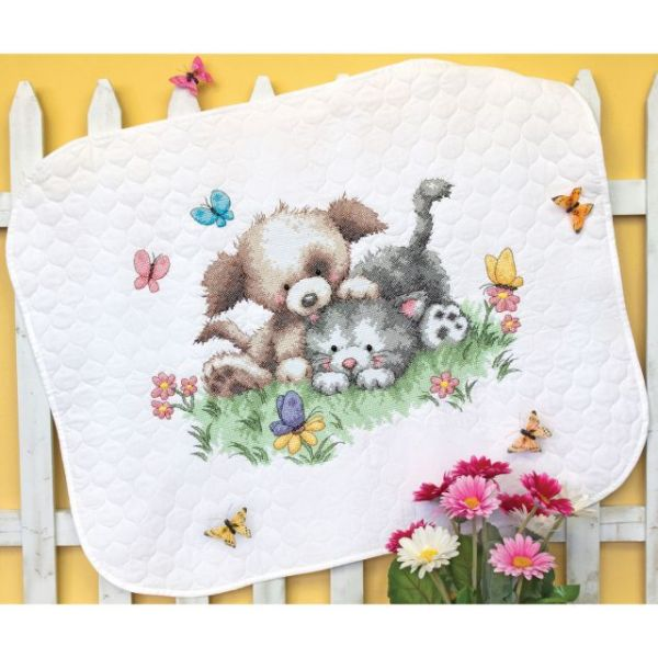 Pet Friends Baby Quilt Stamped Cross Stitch Kit