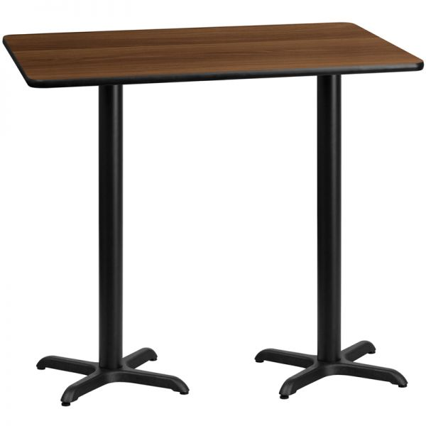 Flash Furniture 30'' x 60'' Rectangular Walnut Laminate Table Top with 22'' x 22'' Bar Height Table Bases