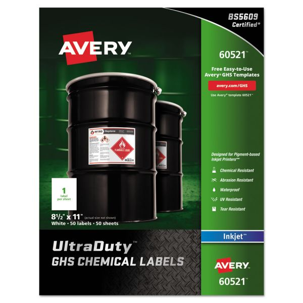 """Avery Ultra Duty GHS Chemical Labels for Pigment Inkjet Printers, Waterproof, UV Resistant, 8.5"""" x 11"""", 50 Pack (60521)"""