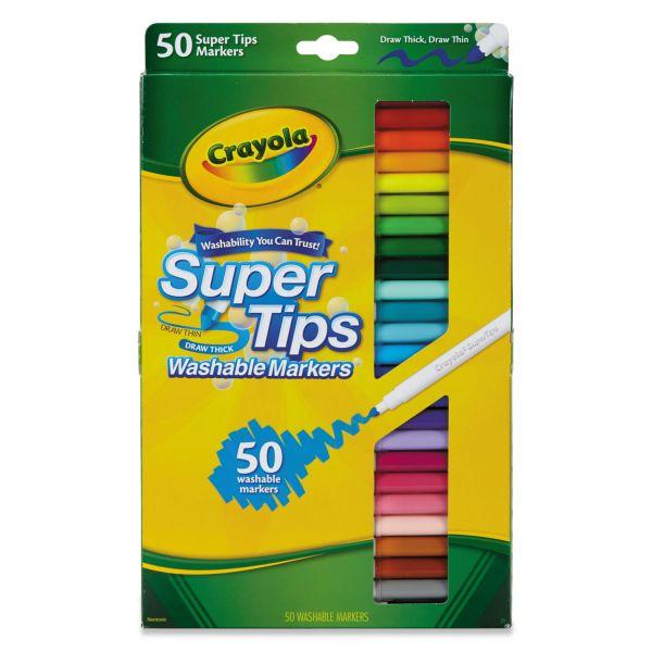 Crayola Washable Super Tips Markers, Assorted, 50/Set