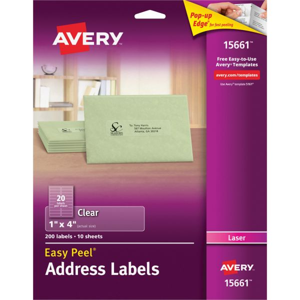 Avery Easy Peel Clear Address Labels