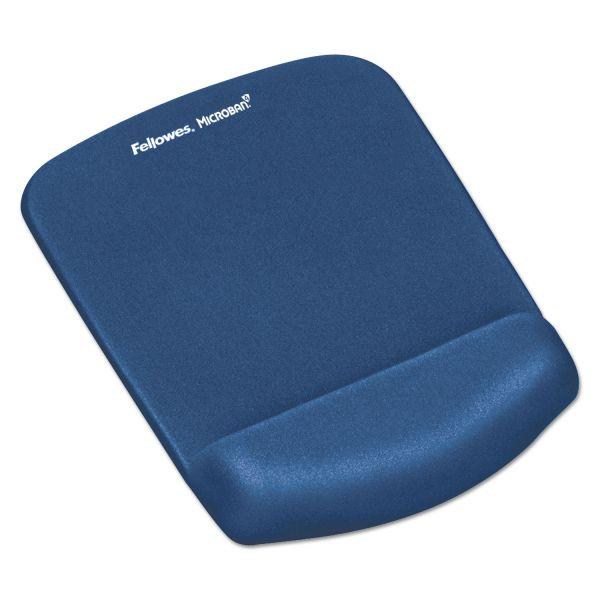 Fellowes PlushTouch Mouse Pad with Wrist Rest, Foam, Blue, 7 1/4 x 9-3/8