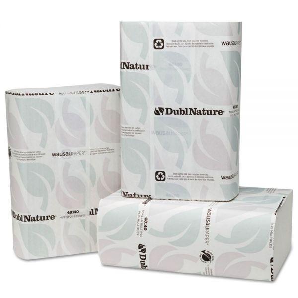 Wausau Paper DublNature Optifold ES Paper Towels, 8 x 9 1/2, White, 250 Sheets/Pack, 12 Packs/Carton