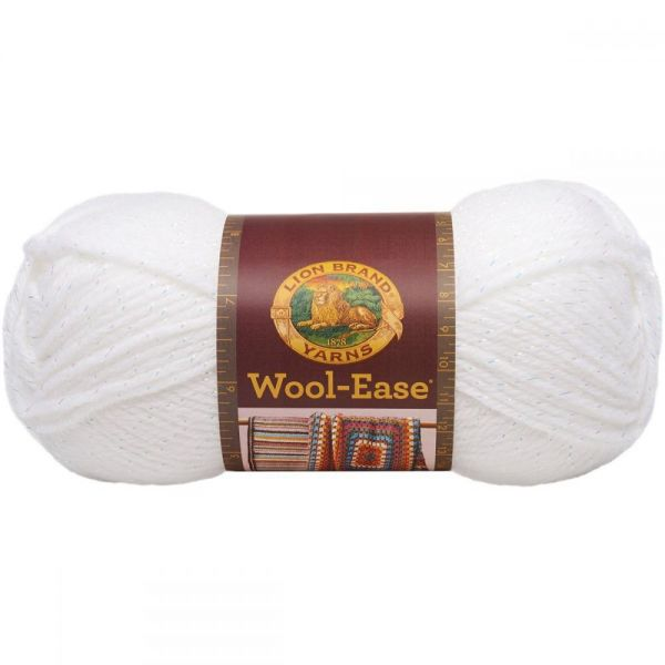 Lion Brand Wool-Ease Yarn - White Glitter