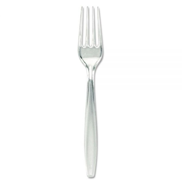 Dixie Plastic Cutlery, Forks, Heavyweight, Clear
