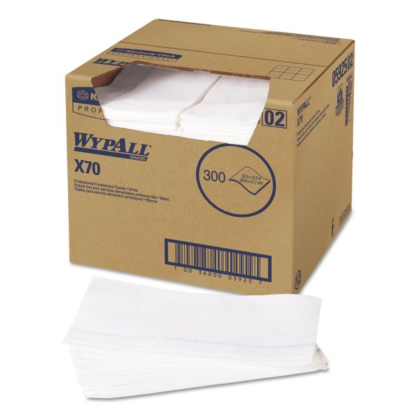 WypAll* X70 Wipers, Kimfresh Antimicrobial, 12 1/2 x 23 1/2, White, 300/Box