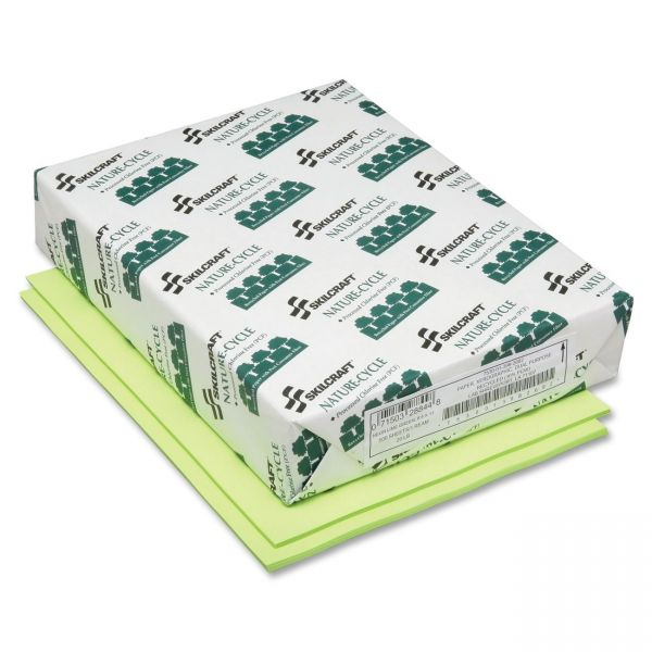 SKILCRAFT Recycled Colored Paper - Neon Green