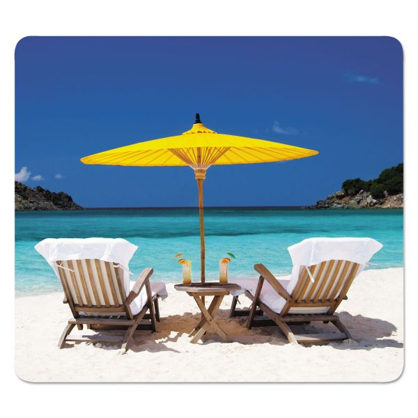 Fellowes Recycled Mouse Pads, Caribbean Beach Design, 9 x 1/16