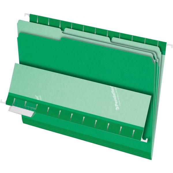 Pendaflex Interior File Folders, 1/3 Cut Top Tab, Letter, Bright Green, 100/Box
